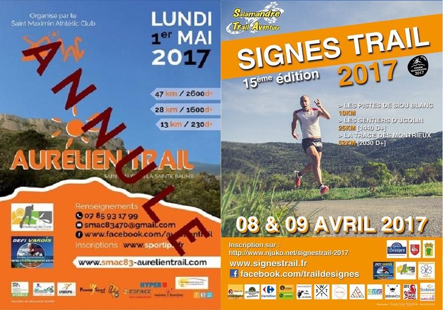 Annulation de l'Aurélien Trail et intégration du Signes Trail Long 2017